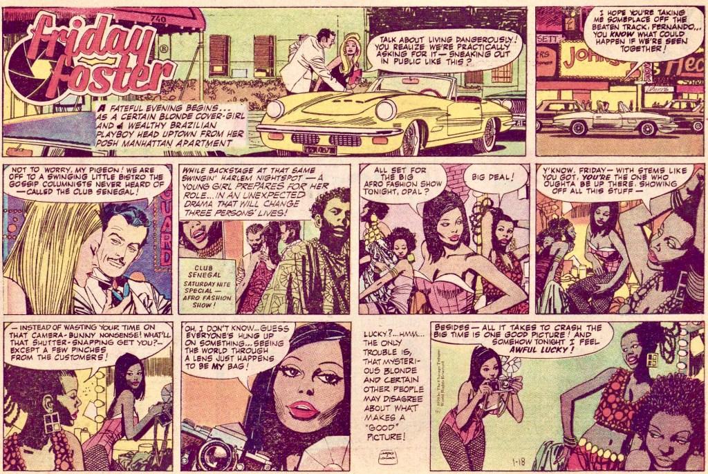 Den första söndagssidan med Friday Foster från 18 januari 1970. ©CTS