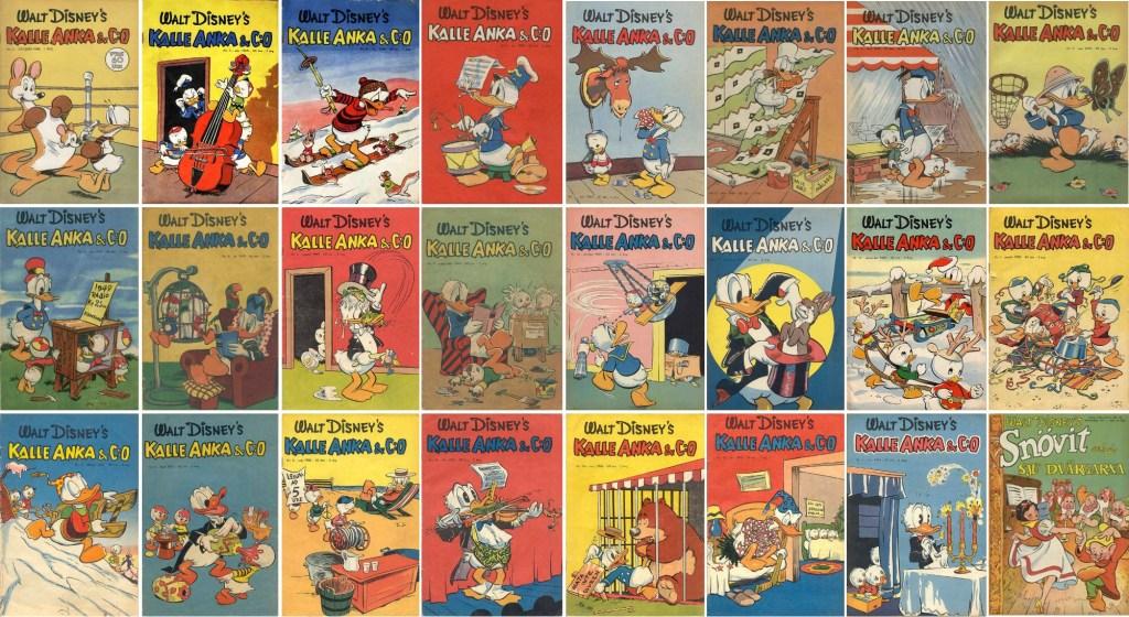 Omslag av Walt Kelly till Kalle Anka & Co från 1948-51 - i början var det Kelly som oftast stod för omslagen. Från 1953 kom istället allt mer Carl Barks att vara den som tecknade omslagen. ©Disney