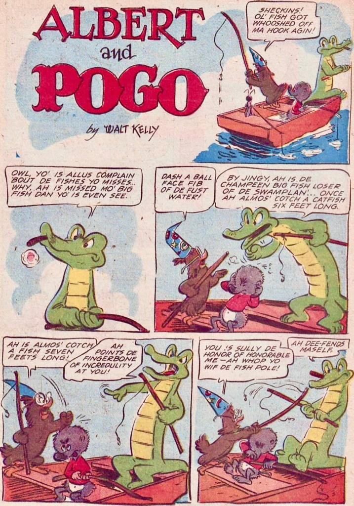 Under åren i Animal Comics blev Pogo förändrad till utseendet, och i sista numret, #30 (1947-48) är det inga problem att känna igen seriefiguren i den blivande dagspresserien. ©Dell