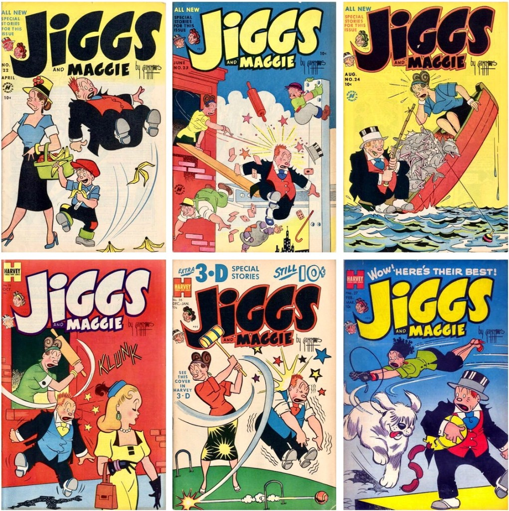 Omslag till Jiggs and Maggie #22–27. ©Harvey