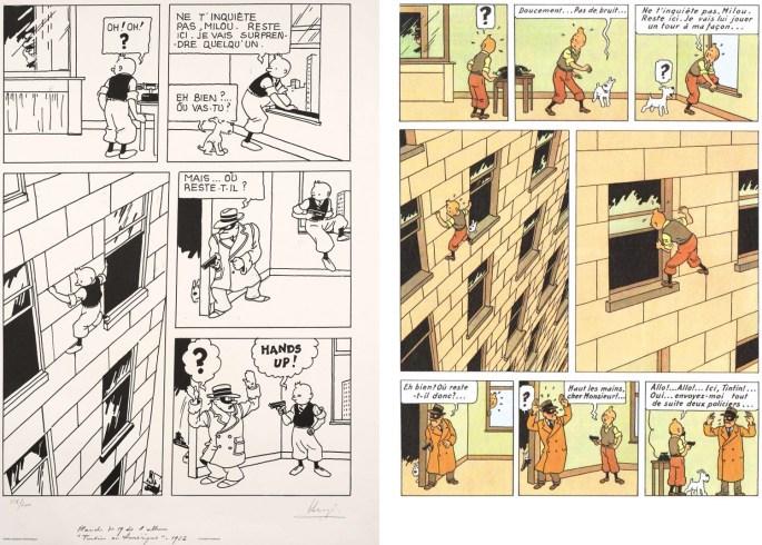 En sida ur Tintin en Amérique från 1932 och 1945. ©Hergé-Moulinsart