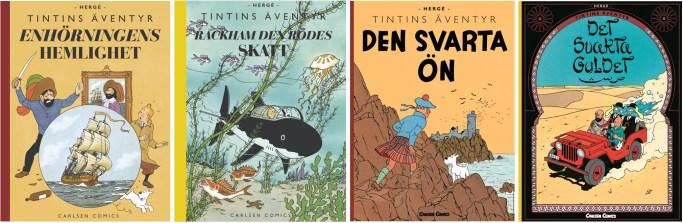 Tintins äventyr i färg (2007-10) med originalutgåvor från 1942, två från 1943, och en från 1950. ©Carlsen Comics