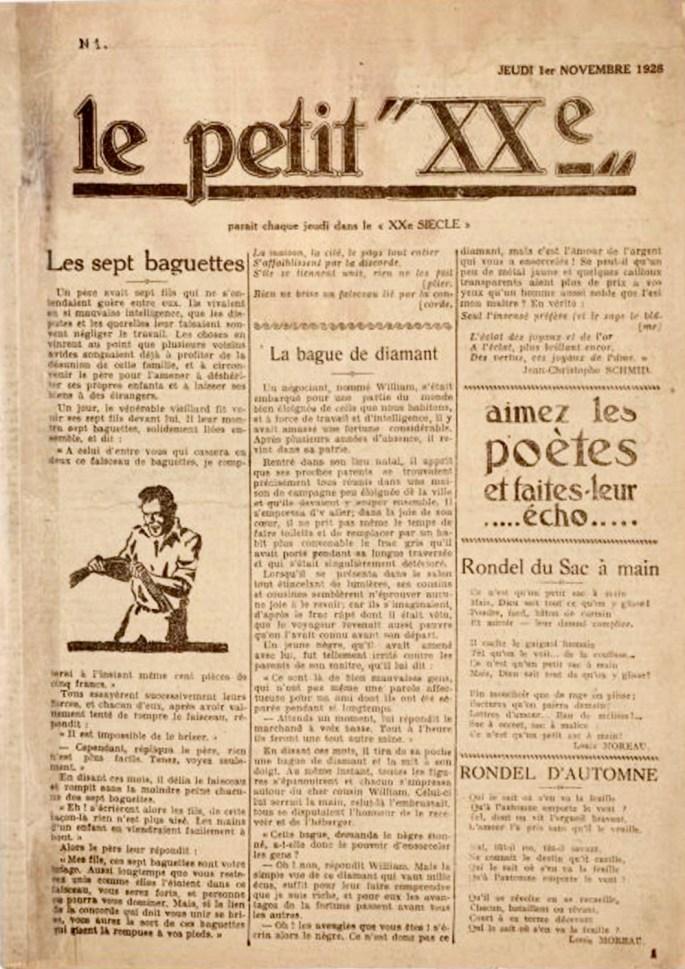 Framsidan till Le Petit Vingtième från 1 november 1928. ©XXe Siècle
