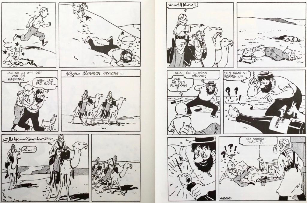 Ett uppslag med Tintin ur Comics, den nya stora serieboken (1993). ©PIB