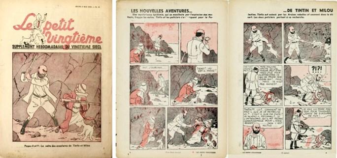 Framsida och uppslaget med Tintin ur sista numret av Petit Vingtième från 9 maj 1940. ©XXe Siècle/Hergé-Moulinsart