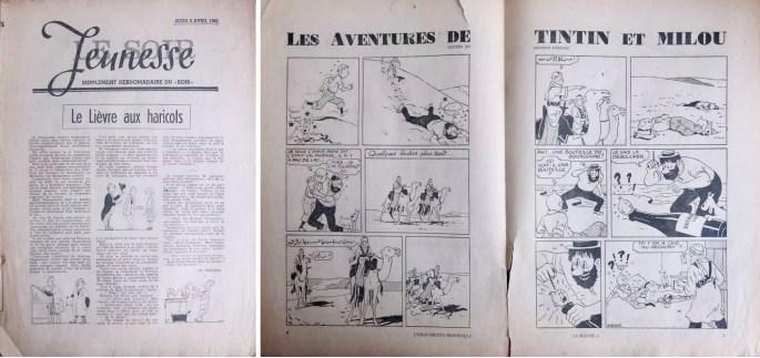 Framsida och ett uppslag ur Le Soir Jeunesse från 1 april 1941. ©Le Soir/Hergé-Moulinsart