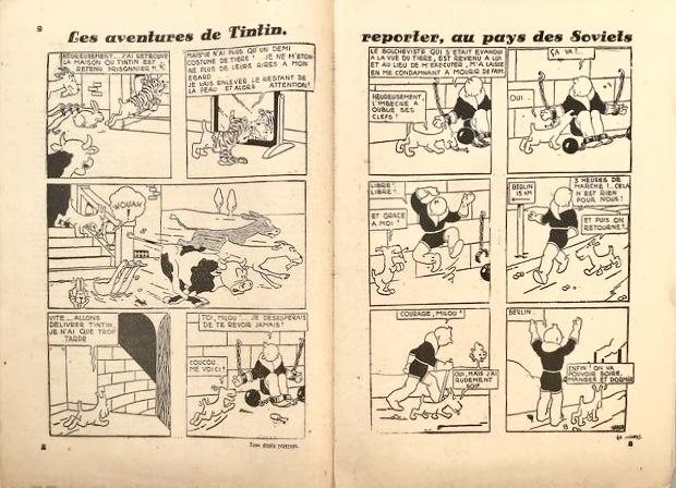 Ett uppslag ur Le Petit Vingtième nr 14, 1930 från 1 april, med Les Aventures de Tintin, reporter, au pays des Soviets. ©Hergé-Moulinsart