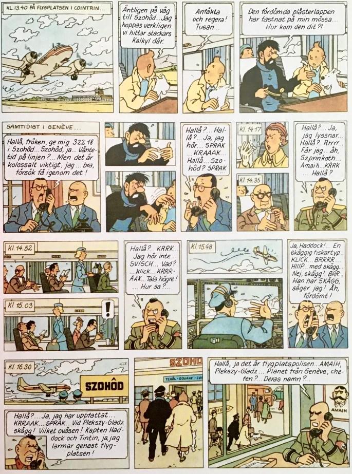 En sida med serien Tintin ur Min nya skattkammare: Serieboken (1986). ©PIB