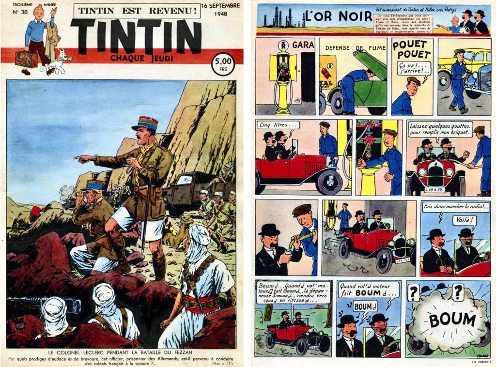Omslag och första införandet av Det svarta guldet ur Le Journal de Tintin N. 38 från 16 september 1948. ©Hergé-Moulinsart