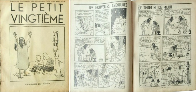 Framsida och uppslaget med Tintin ur Le Petit Vingtième n. 49 från 10 december 1936. ©XXe Siècle/Hergé-Moulinsart