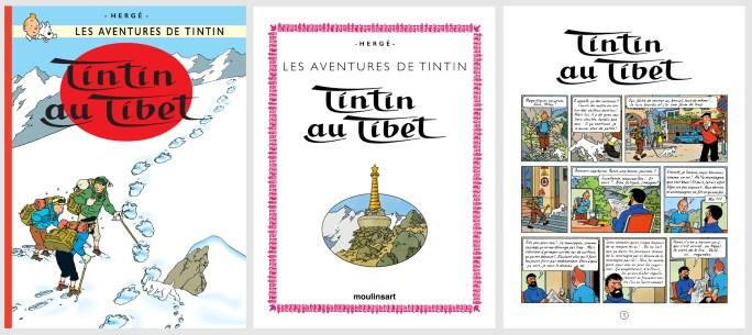 Omslag och inledande sida till Tintin au Tibet. ©Hergé-Moulinsart