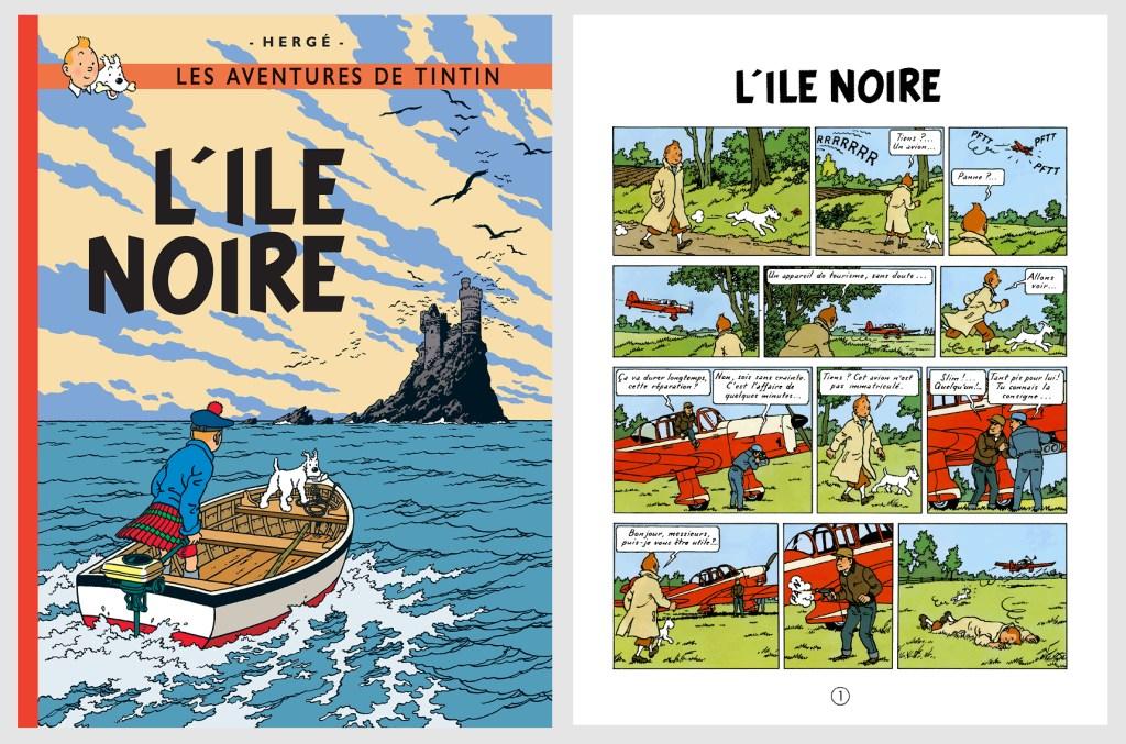 Omslag och inledande sida ur L'Île noire (1966). ©Casterman/Hergé-Moulinsart