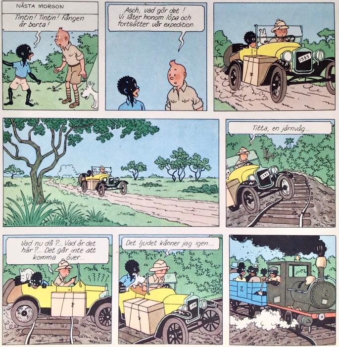 Inledande sida med utdraget ur Tintin i Kongo, ur Comics nr 3. ©PIB