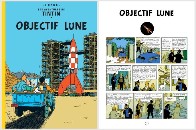 Omslag och inledande sida till Objectif Lune. ©Hergé-Moulinsart