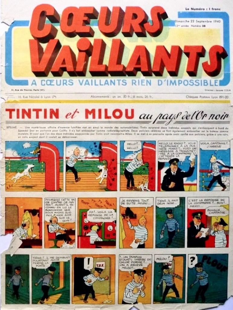 Omslaget till Coeurs vaillants N. 38 från 22 september 1940. ©Cœurs Vaillants/Hergé-Moulinsart