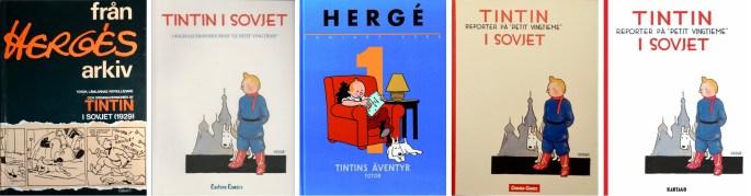 Omslag till seriealbum från 1975, -84, -99, 2003 och -19. ©Bonnier/Carlsen/Kartago