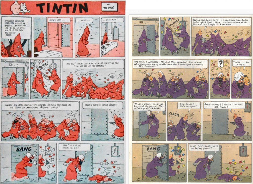 En sida ur Året Runt (t.v.), delvis motsvarande sidan 56 i seriealbumet (t.h.). ©PIB