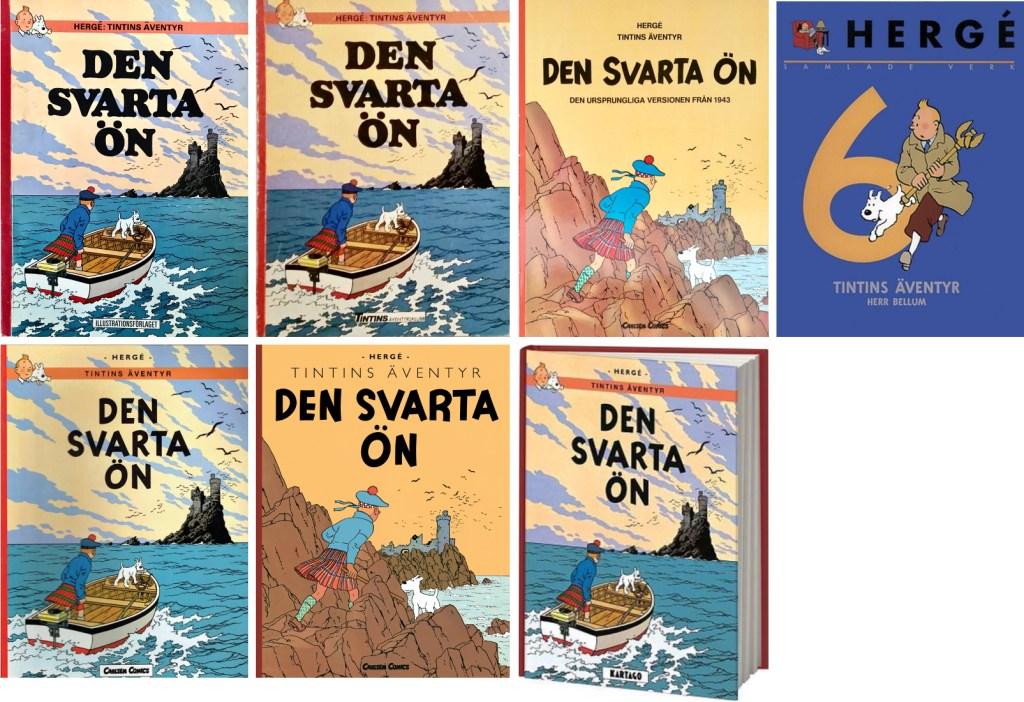 Den svarta ön är ett av de äventyr som utkommit med flest utgåvor. ©Bonniers/Carlsen/Kartago/Nordisk bok