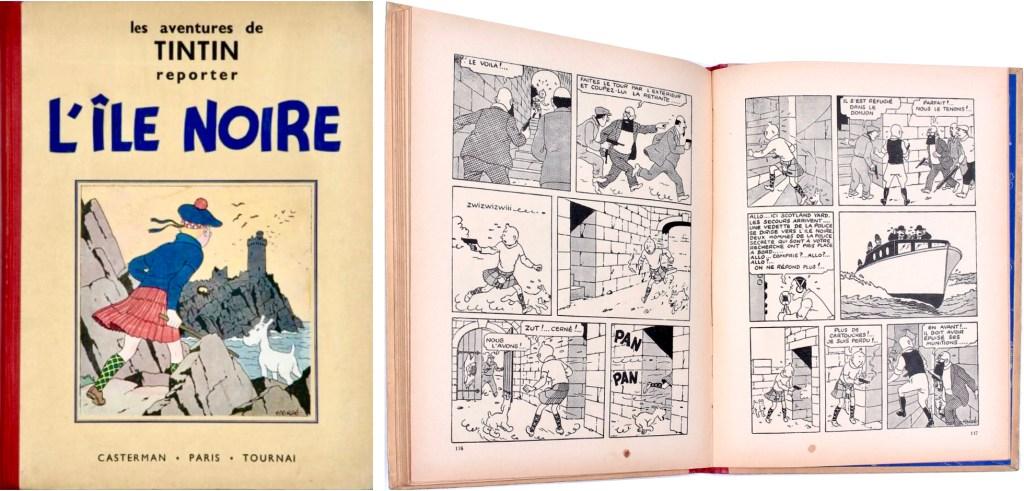 Omslag och ett par sidor ur L'Île noire (1938). ©Casterman/Hergé-Moulinsart