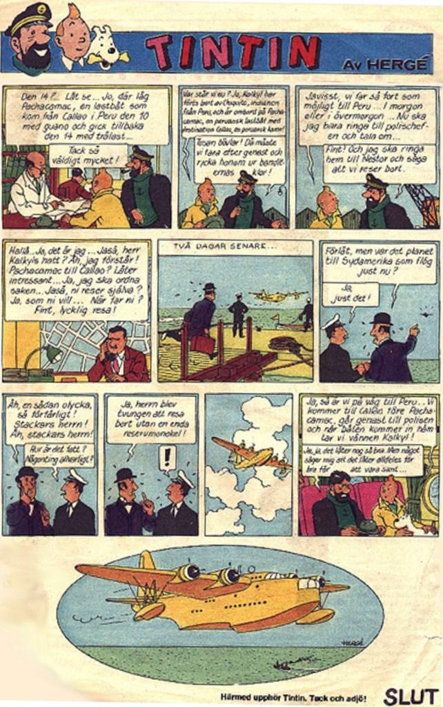 Aftonbladet publicerade serien Tintin, episoderna Den svarta ön (1971-72) och Enhörningens gåta (1972-73), och avslutade därefter publiceringen trots att det var del 1 i ett dubbeläventyr. ©PIB