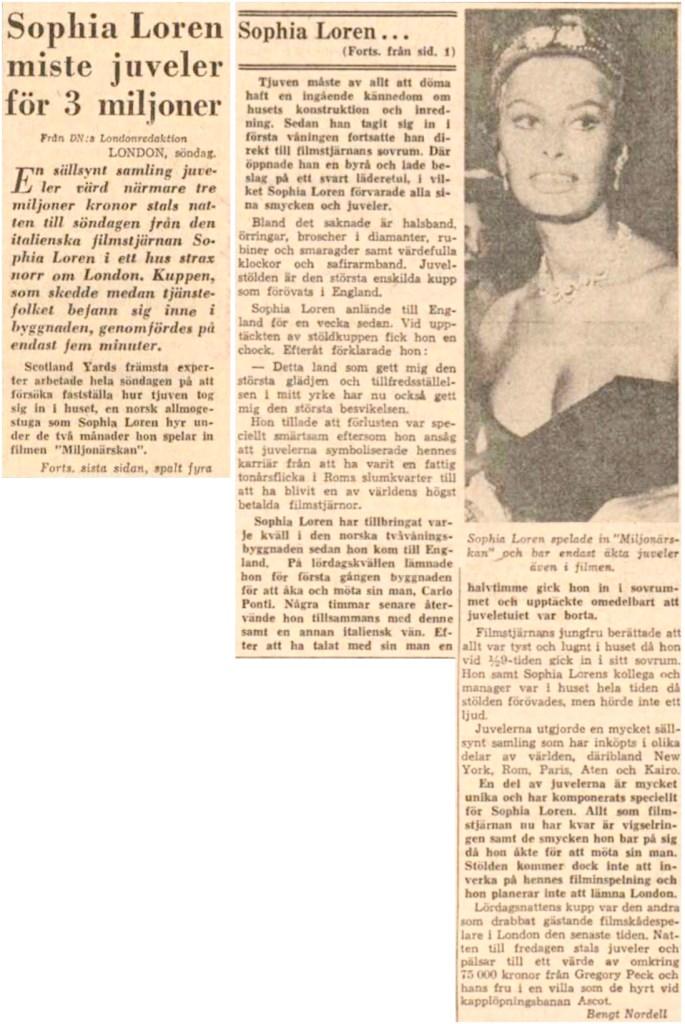 Nyheten om stölden, ur DN 30 maj 1960.