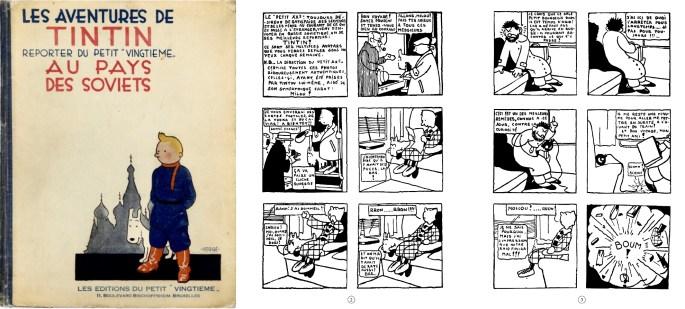 Omslag till första albumet och det första uppslaget med Tintin. ©Hergé-Moulinsart