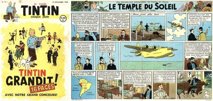 Omslaget och uppslaget med Tintin ur Le Journal de Tintin N. 13 från 19 december 1946, med slutet på De sju kristallkulorna och början på Solens tempel. ©Hergé-Moulinsart