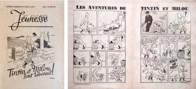 Framsida och uppslaget med Tintin ur  Le Soir Jeunesse från 17 oktober 1940. ©Le Soir/Hergé-Moulinsart