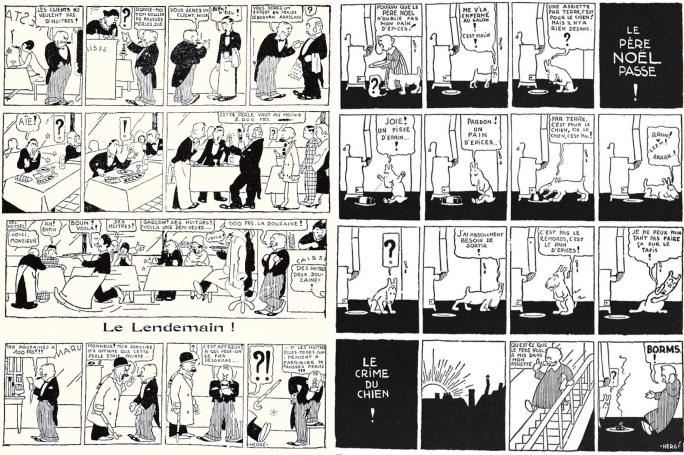 Sidan 6-7 i Le Sifflet från 30 december 1928, med två serier av Hergé. ©Hergé-Moulinsart
