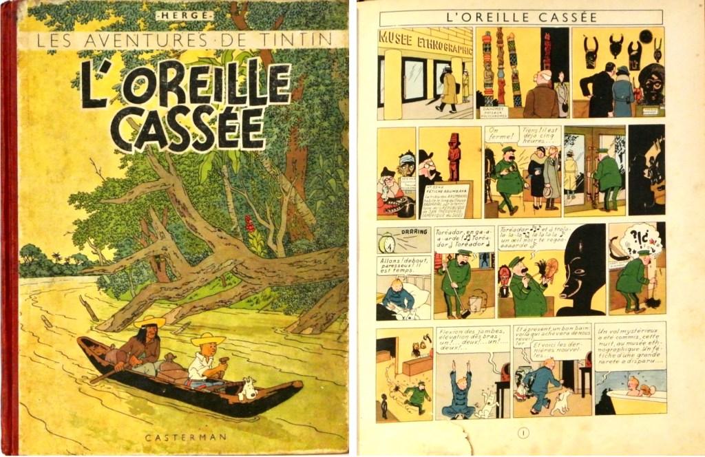 Omslag och inledande sida ur L'Oreille Cassée (1943). ©Casterman/Hergé-Moulinsart