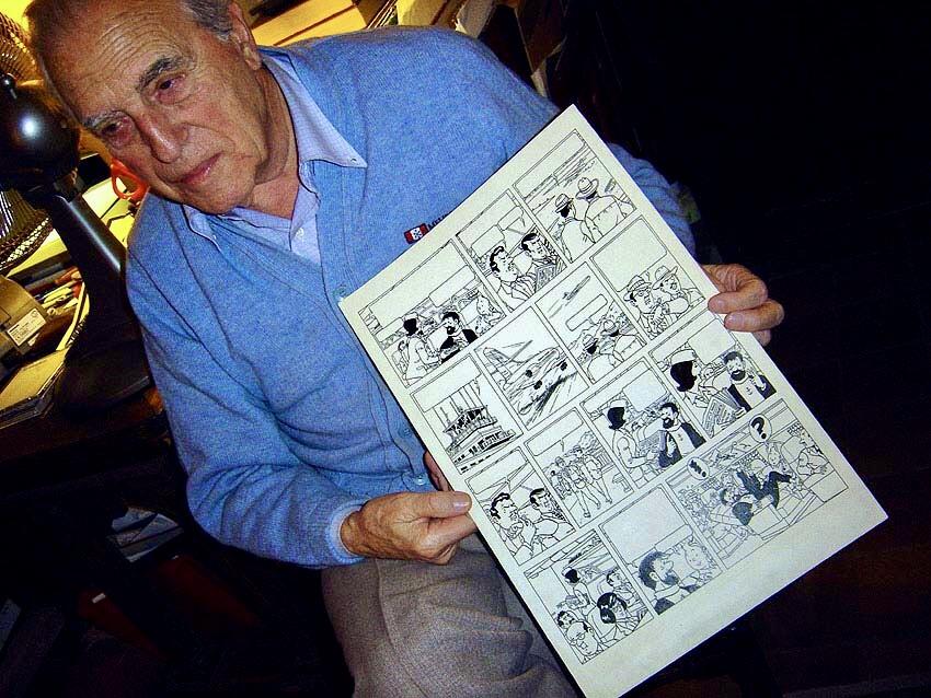 Hemma hos Jacques Martin med det falska seriesidan (2005).Foto ©Christophe Fumeux