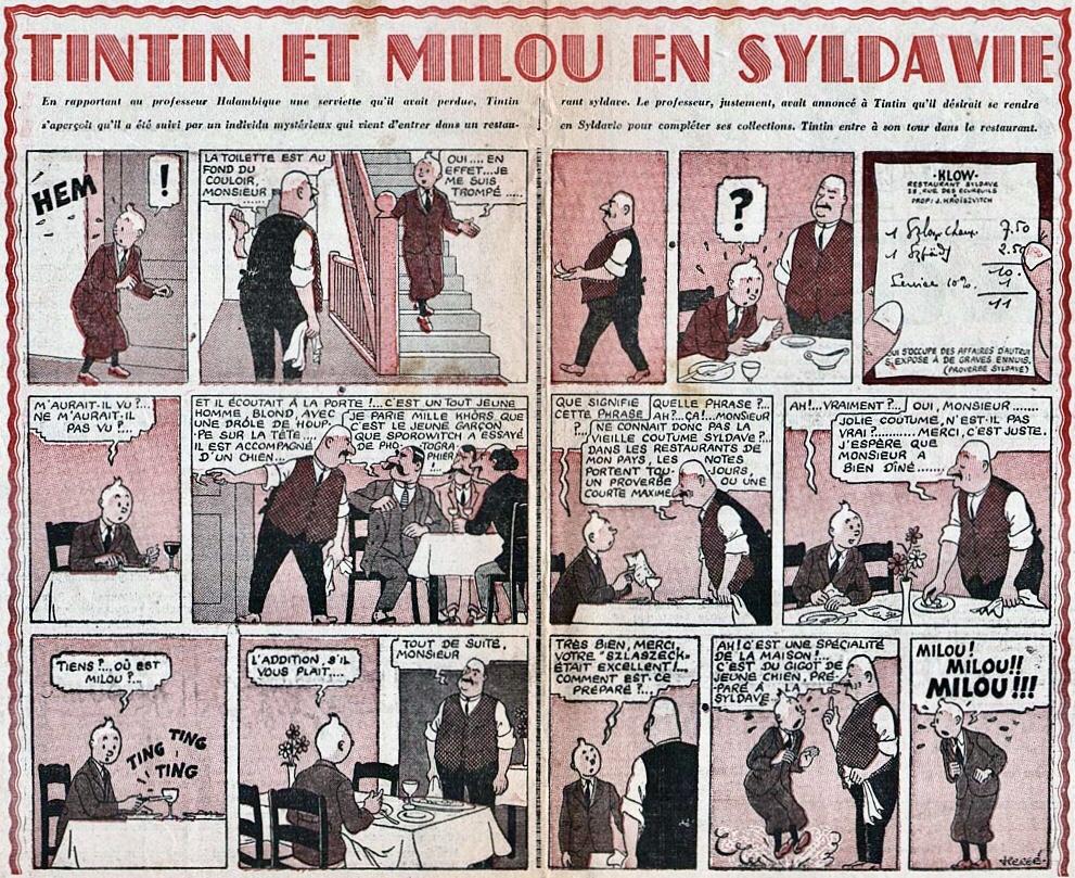 Ett uppslag med Tintin ur ett nummer av Cœurs Vaillants. ©Hergé-Moulinsart