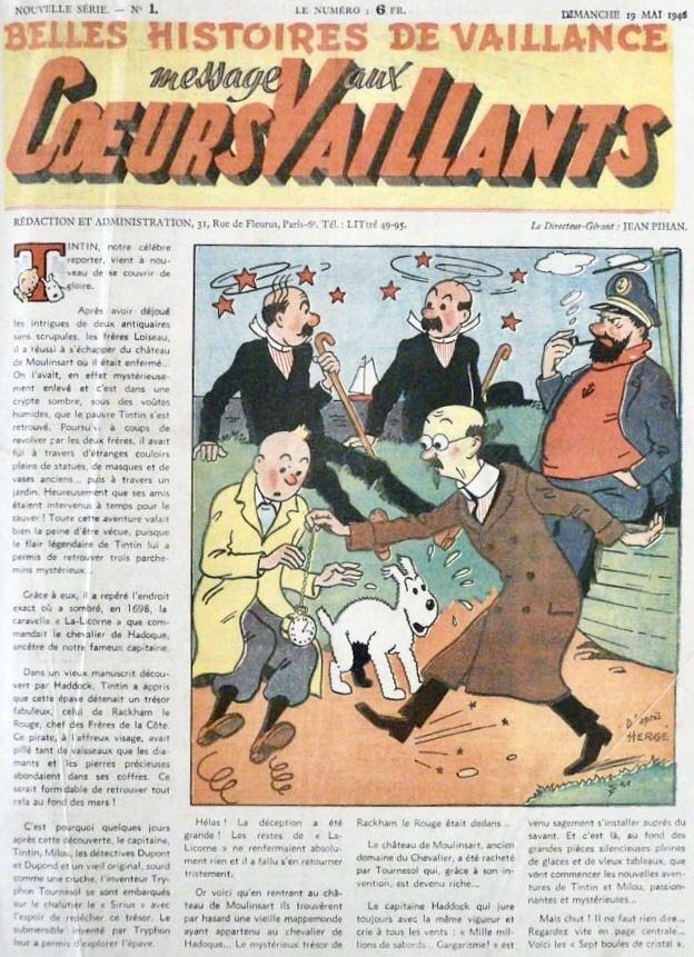 Omslaget till Cœurs Vaillants N. 1 från 19 maj 1946. ©Cœurs Vaillants/Hergé-Moulinsart