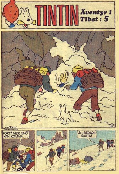 En sida med Tintin i Tibet ur Pelle Svanslös nr 20, 1970. ©PIB