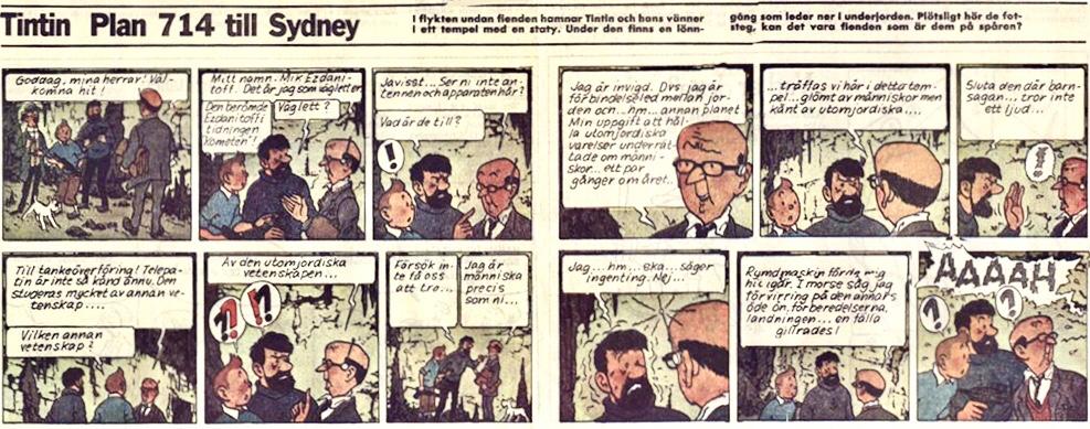 Tintin ur Svenska dagbladet från 23 april 1989. ©PIB
