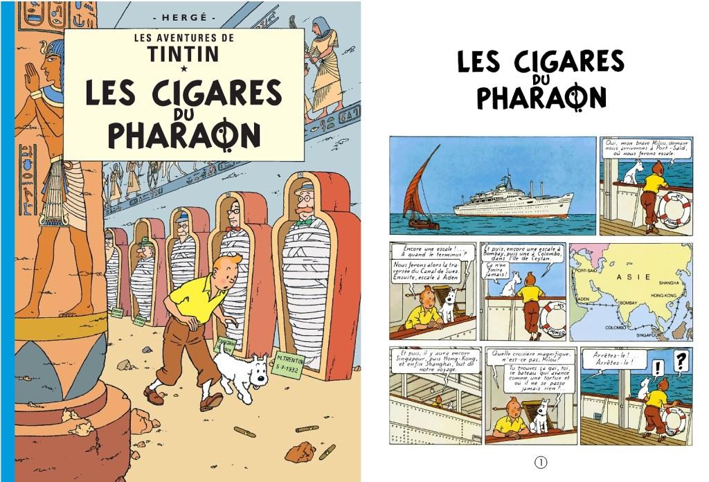 Omslag och inledande sida ur Les Cigares du Pharaon. ©Hergé-Moulinsart