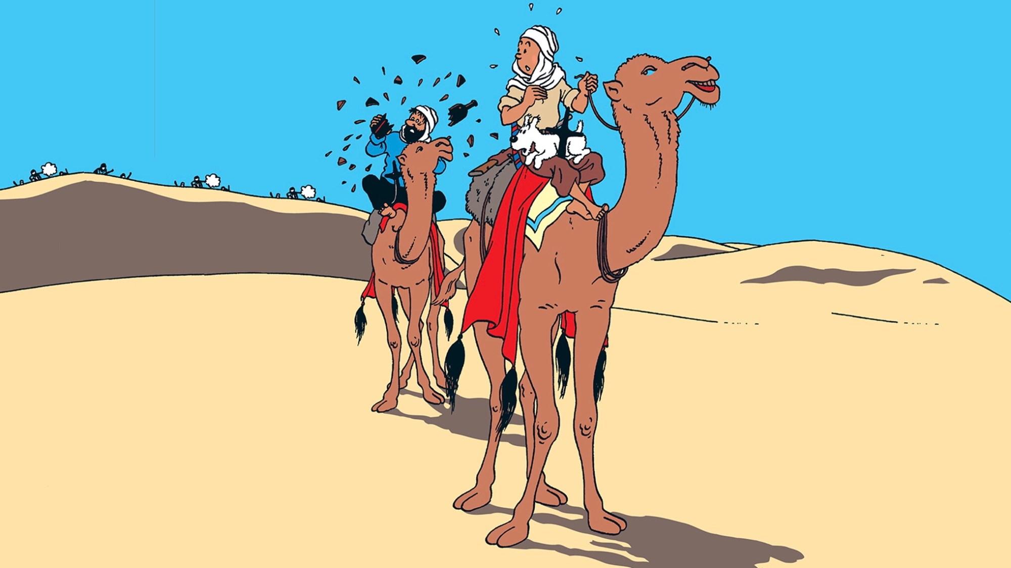Krabban med guldklorna, med Tintin