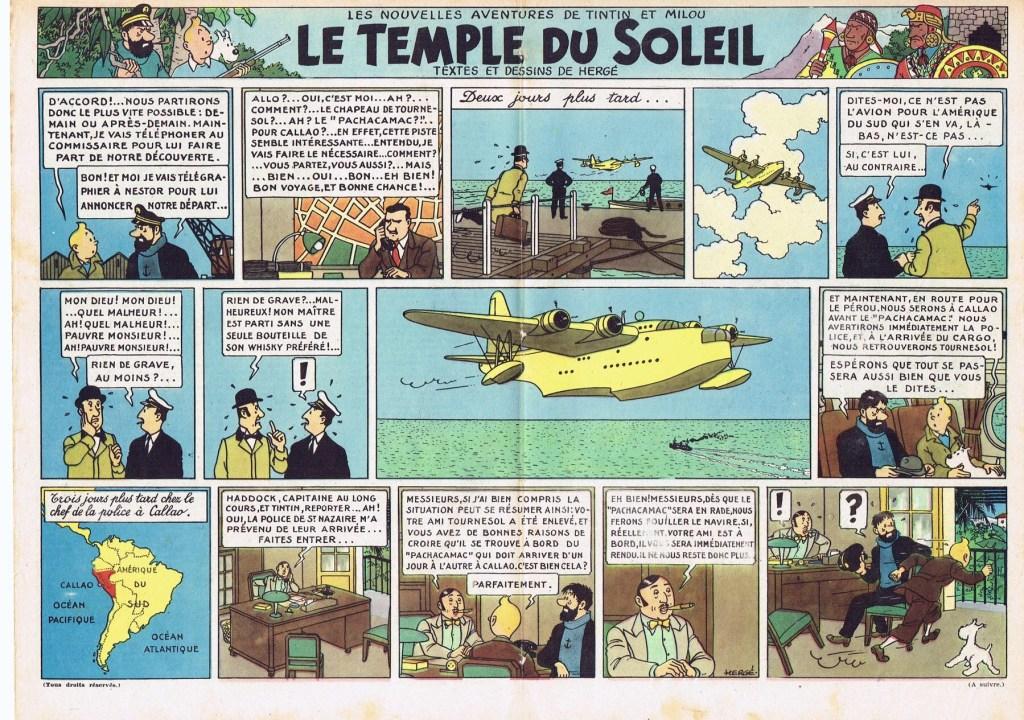 Uppslaget med slutet på De sju kristallkulorna och början på Solens tempel ur Journal de Tintin N. 13 från 19 december 1946. ©Hergé-Moulinsart