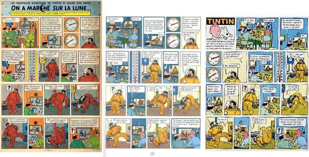 En sida (t.h.) ur TV-tidningen nr 39, 1970, en något omredigerad version jämfört med originalpubliceringen i Le Journal de Tintin (t.v.) och albumsida 37 (mitten). ©PIB/Hergé-Moulinsart