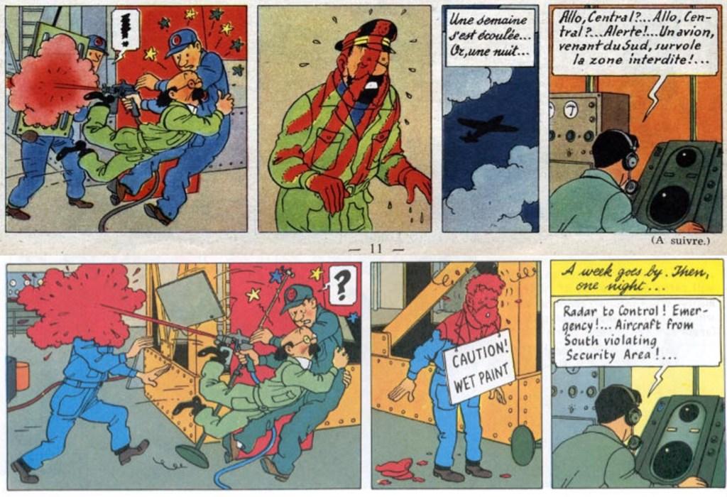 En stripp ur införande nr 15 i Le Journal de Tintin (överst), och motsvarande stripp från sid 16 ur seriealbumet (underst). ©Hergé-Moulinsart