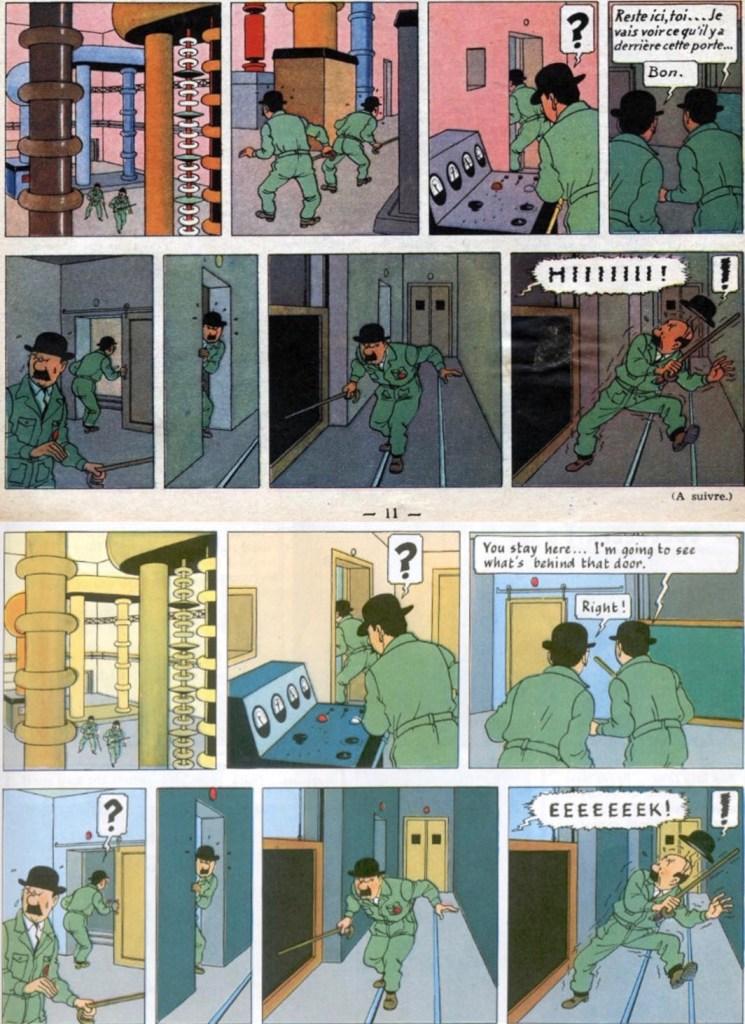 Ett par strippar ur införande nr 22 i Le Journal de Tintin (överst), och motsvarande stripp från sid 23 ur seriealbumet (underst), där en bild är borttagen. ©Hergé-Moulinsart