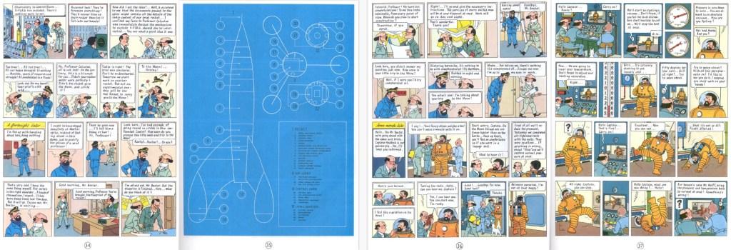 Motsvarande del av episoden som sidorna 34-37 i seriealbum, med en sida och två halvsidor tilltecknade. ©Hergé-Moulinsart