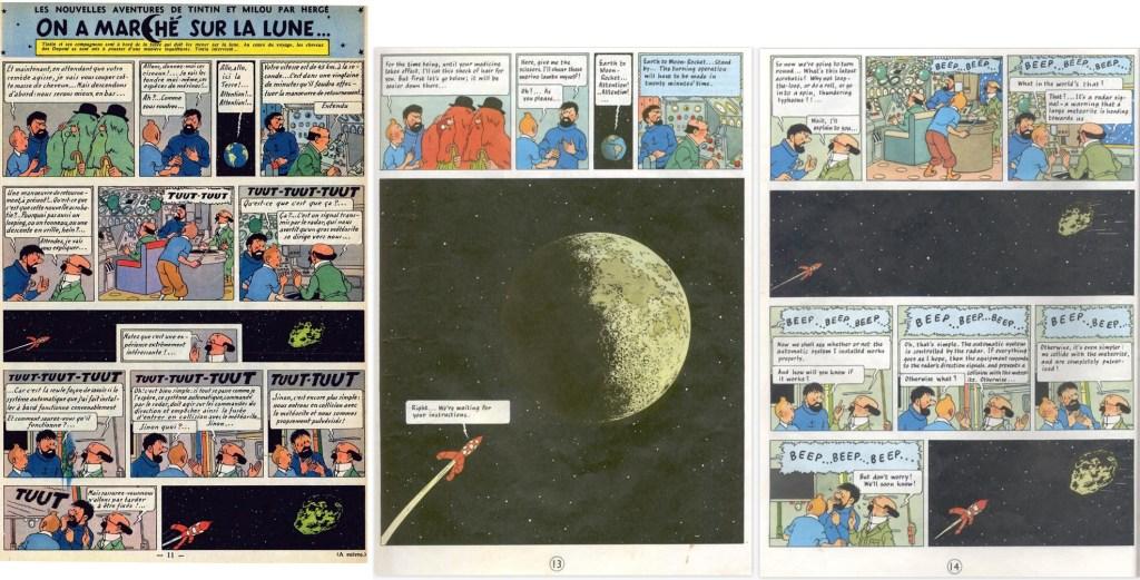 Införande nr 67 i Le Journal de Tintin, och motsvarande del av episoden som sidorna 13-14 i del 2, med månen tilltecknad. ©Hergé-Moulinsart
