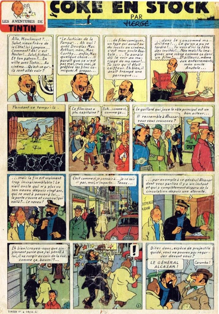 Första sidan med Coke en stock i Le Journal de Tintin (1956). ©Hergé-Moulinsart