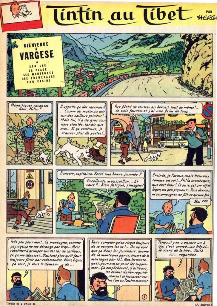 Inledningen till Tintin au Tibet ur Le Journal de Tintin från 17 september 1958. ©Hergé-Moulinsart