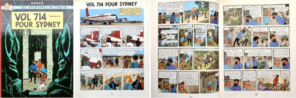 Omslag, förstasida och ett uppslag ur Vol 714 pour Sydney (1968). ©Casterman/Hergé-Moulinsart