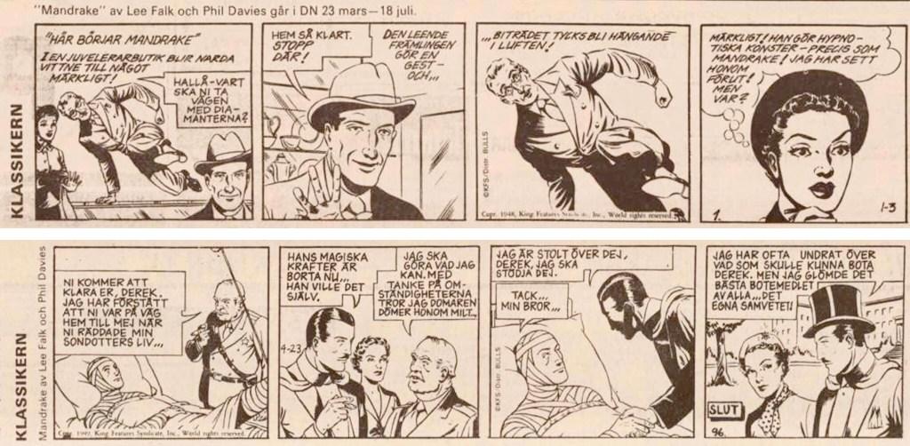 Första och sista strippen i DNs publicering av serien, ursprungligen från 3 januari till 23 april 1949. ©Bulls