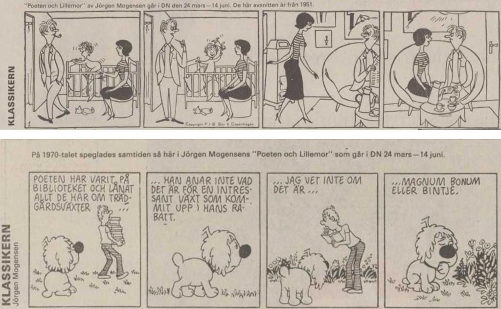 Första och sista strippen i DNs publicering av serien. ©PIB