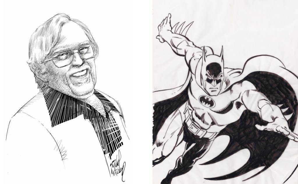 En illustration med Dick Giordano, och ett original med Batman av Giordano.