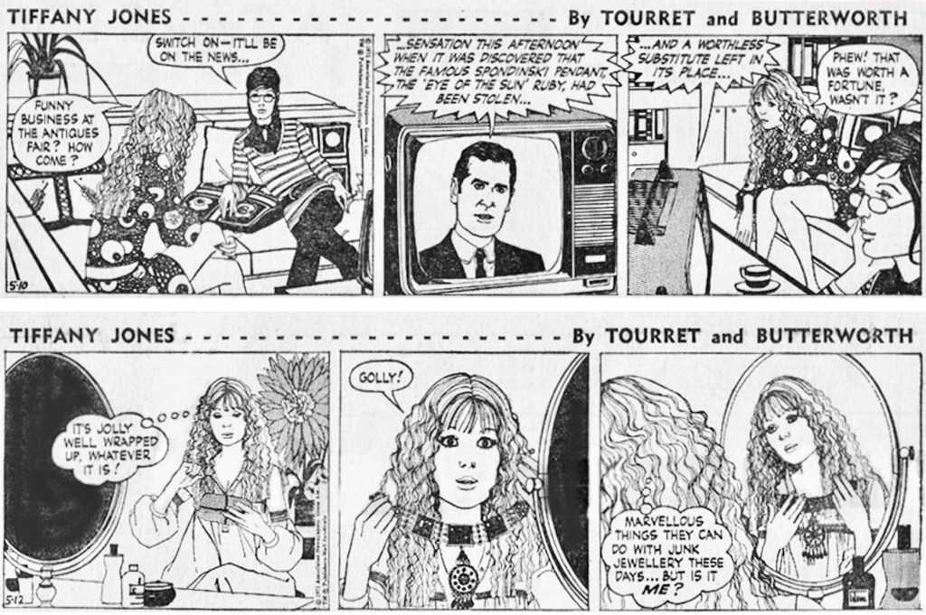 Ett par motsvarande dagsstrippar i original ur amerikansk dagspress. ©Associated Newspapers